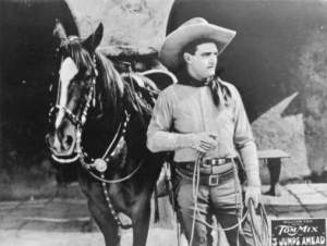 Tom Mix en compagnie de son célèbre cheval Tony.