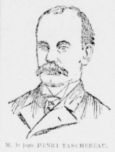 Le juge Taschereau, selon une illustration du journal La Patrie, qui a présidé le premier procès de Cordélia Viau en 1898.