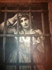 Gravure parue le 19 janvier 1882 dans le journal montréalais L'Opinion Publique et réalisée d'après le tableau de M. Muller.  Ce tableau représente Charlotte Corday dans sa prison, une femme qui fut condamnée à mort en 1792.