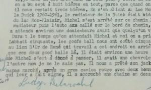 Extrait des aveux de Ludger Delarosbil qu'il signa le 24 juillet 1971, quelques jours après le meurtre.  Dans le dossier judiciaire retrouvé il y a quelques jours dans les archives, se trouve ces aveux qui s'étendent sur trois pages.
