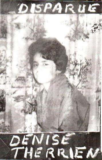 Cette photo de Denise Therrien, créée par son père et un ami de ce dernier, fut largement utilisée à l'époque dans le cadre des recherches.