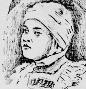 Illustration parue dans La Patrie en 1911.  Blanche Desautels, 9 ans, a témoigné contre ses parents alors qu'elle portait encore un bandage autour de sa tête.