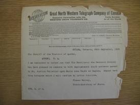 Télégramme annonçant la décision du Gouverneur Général Cavendish sur la question de la commutation de la peine de Marie-Anne Houde.