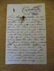 Partie de la lettre que Télesphore Gagnon a écrit à sa femme en 1933.