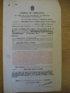 Permis de libération de Marie-Anne, en date du 3 juillet 1935.