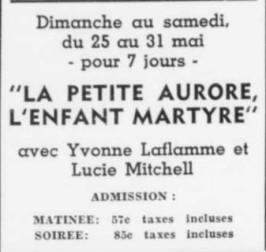 Publicité parue dans les journaux en mai 1952 pour annoncer la sortie en salle du film de Jean-Yves Bigras.