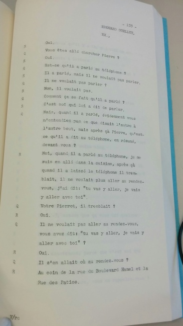 Exemple de transcriptions sténographiques contenu dans un dossier judiciaire. Dans ce cas-ci, le procès du tueur en série Léopold Dion tenu à Québec en 1963.