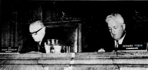 Le juge Roger Gosselin, à gauche, et le commissaire Gérard Tobin.